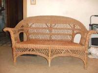 This is a vintage 2 person wicker love seat. This is a