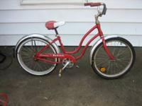 "VINTAGE 20"" GIRLS RED SCHWINN BANTAM BICYCLE RIDES AND"