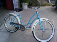 "1956 Womans 26"" Hawthorne balloon tire bike, new paint"