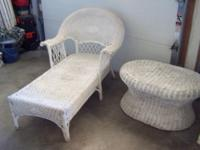 Vintage (3 Piece) White Wicker Chase Lounger, Table &