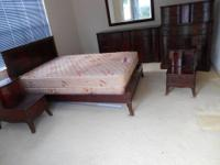 Beautiful Cherry Colored Bedroom Set, Long Dresser with