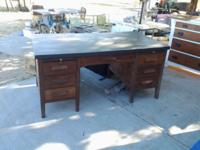 Vintage Circa 1940's 6 Drawer Desk. Nice Condition.
