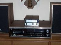 VINTAGE 8 TRACK TAPE PLAYER, 55 TAPES AND 8 TRACK CAR