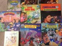 Nine vintage 80s collectible kids books and one VHS.