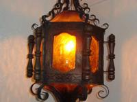 Vintage Amber Color Curved Steel Hanging Fixture $125