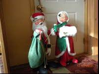 Vintage Annalee Mr. and Mrs. Claus Dolls, mid 1980's.