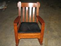 VINTAGE/ANTIQUE ALL WOODEN ROCKER WITH REMOVABLE PADDED