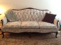Beautiful vintage/antique style fabric couch for sale.