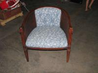 VINTAGE/ANTIQUE WOOD AND CLOTH SIDE CHAIR VERY UNIQUE