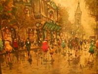 Vintage impressionist painting done mid 20th century by