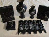 Vintage Asian Black Lacquer & Mother of Pearl, 6 piece