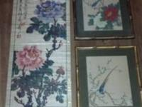 Two vintage bamboo prints plus a wall hanging.    Very