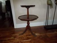 Antique/ Vintage Round 2 Tier Mahogany Wood Table This