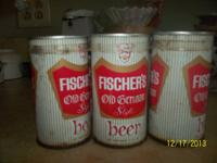 Full 6 Pack Unopened Fischer's Beer Pull tab cans not