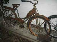 Late 40's Shelby Traveler bicycle. Complete put tires