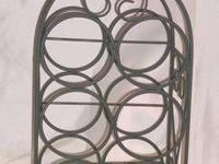 "VINTAGE WROUGHT IRON WINE RACK MEASURES: 21 1/2"" HIGH,"