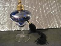 VINTAGE BLUE ART DECO PERFUME ATOMIZER BOTTLE