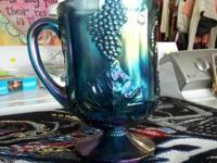 Several pieces of beautiful Blue Carnival glass. In
