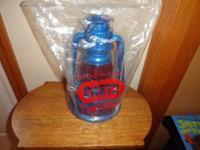 Vintage blue Dietz #1 Little Wizard red globe lantern,