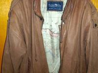 Vintage brown leather bomber jacket (medium) in good