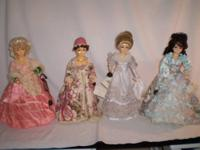 "These four 16"" collector dolls are made of porcelite."
