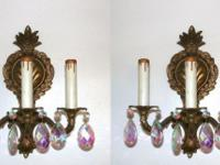 A pair of 3 arm light with candle sticks French Rococo
