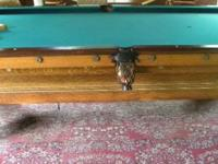 4 1/2 ft X 9 ft pool table includes cased Billiards