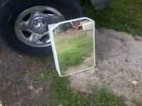 Beautiful vintage all metal cabinet with wavy mirror