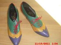 COOL vintage multi color calico shoes from the early