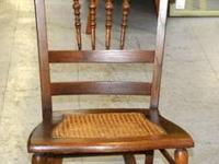 Vintage Cane Seat Spindle Back Rocking Chair - Solid