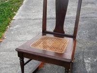 LOVELY VINTAGE WOOD ROCKING CHAIR WITH CANED SEAT!