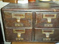 The item for sale is a vintage 4 drawer card catalog