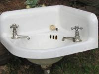 "This wall mounted corner sink is 17"" wide by 17"" deep"