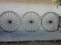 "I have 6 all metal wagon wheels 55"" in diameter good"