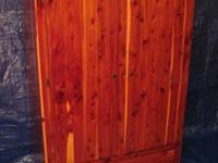 OLD CEDAR WARDROBE made of aromatic red cedar.It has