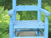 SALE ! A vintage child's rocking chair with light blue