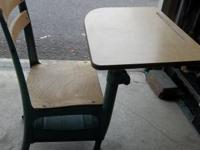 Vintage Child's School Desk and Chair Wood Metal Mid