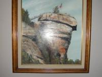 Oil painting of Chimmy Rock. North Carolina. Artist