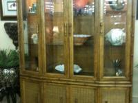 Beautiful two piece vintage faux bamboo china cabinet