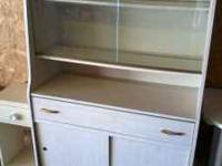Vintage China Hutch w/ sliding glass upper cabinet