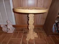 Vintage Chinese carved Faux Ivory Pedestal