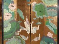 Gorgeous four panel two-sided Chinese screen or room