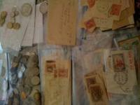 Collection of Stamps and Coins - Vintage Coins are