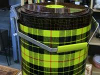 Great enormous yellow-plaid thermos. Wonderful decor