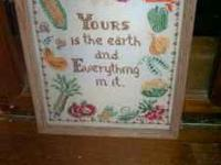 We have a few vintage cross stitch wall hangings, none