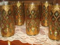 Ten vintage 1960's signed Culver bar glasses with 22k