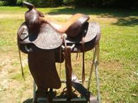 Vintage Custom Hand tooled M L Leddy Cutting Saddle for Sale