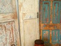 Vintage Distressed Wood Doors White, Pink, Turquoise