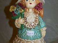"Photo 1) VINTAGE STYLE DOLL BANK, approx 8""high, $5"