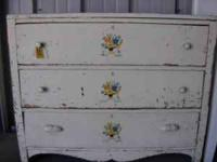 *()*()*()*() THREE DRAWER, ALL WOOD VINTAGE DRESSER